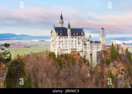 Fairytale Neuschwanstein Castle, Bavaria, Germany - Stock Photo