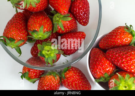 fresh ripe strawberries isolated on white background - Stock Photo