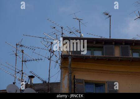 satellite tv dish on rooftop. broadcasting, signal, satellite dish ...