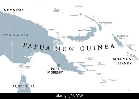 Papua New Guinea political map with capital Port Moresby. English labeling. Independent state in Oceania. Illustration. - Stock Photo