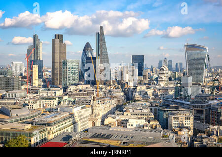 London, United Kingdom - October 20, 2015: View to City of London as seen from St Paul cathedral on 20th of October, - Stock Photo