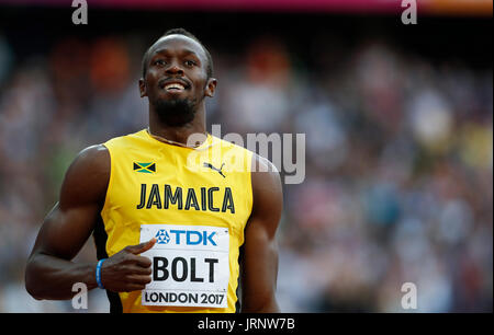 London, UK. 5th Aug, 2017. Usian Bolt of Jamaica competes during the men's 100m final on Day Two at the IAAF World - Stock Photo