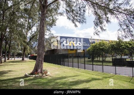 (170806) -- RIO DE JANEIRO, Aug. 6, 2017 -- Photo taken on August 5, 2017 shows the exteriors of the Rio center - Stock Photo