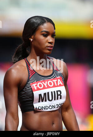 London, UK. 6th August, 2017. Carline Muir awaits the start of heat five of the Women's 400m on day three of the - Stock Photo