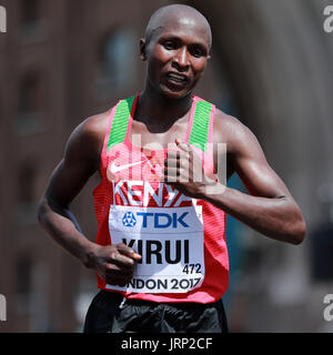 London, UK. 6th Aug, 2017. Geoffrey Kipkorir Kirui of Kenya competes during the men's marathon at the IAAF World - Stock Photo