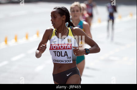 London, UK. 6th Aug, 2017. Marathon runner Fate Tola Geleto of Germany in action at the IAAF World Championships - Stock Photo