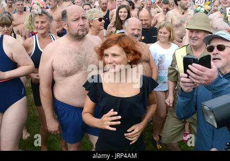 Dresden, Germany. 06th Aug, 2017. Katja Kipping, Federal Chairwoman of the political party Die Linke ('The Left') - Stock Photo