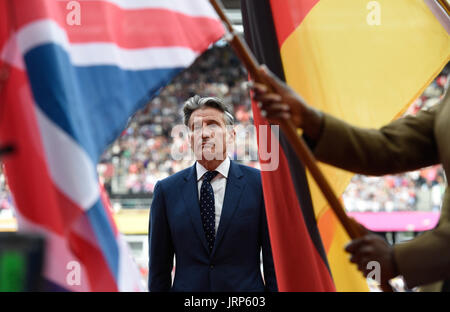 London, UK. 6th Aug, 2017. IAAF President Sebastian Coe at a victory ceremony at the IAAF World Championships in - Stock Photo