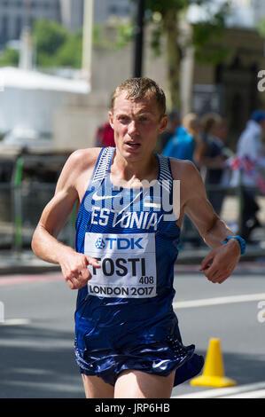 London, UK. 6th August, 2017. Roman Fosti (Estonia) at the IAAF World Athletics Championships Men's Marathon Race - Stock Photo