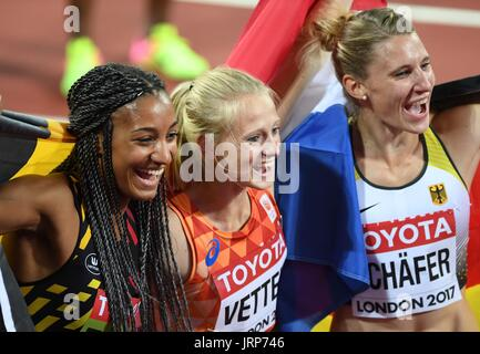 London, UK. 06th Aug, 2017. (l to r) Nafissatou Thiam (BEL, winner), Anouk Vetter (NED, 3rd) and Carolin Schafer - Stock Photo