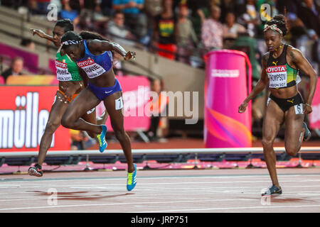 London, UK. 06th Aug, 2017. Tori Bowie, USA,  wins the women's 100m final on day three of the IAAF London 2017 world - Stock Photo