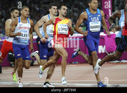 London, UK. 06th Aug, 2017. Spain's Kevin Lopez (C) competes in the men's 800m semi finals at the London 2017 IAAF - Stock Photo