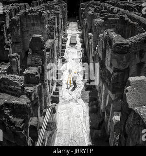 Colosseum, Rome, Italy - June 23 2017: A worker carries out archeological surveying at the Colosseum in Rome - Stock Photo