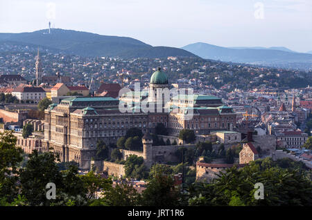 Buda Castle. View from Gellert hill of  Buda Castle (Royal Palace) and Castle Hill, Budapest,Hungary - Stock Photo