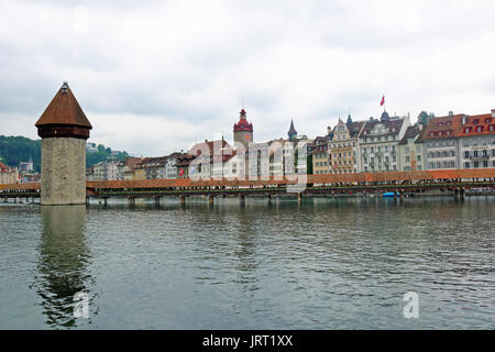 Chapel Bridge and Water Tower,Lucerne,Switzerland - Stock Photo
