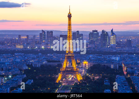 Paris, France - May 14, 2014: Night of Paris city skyline with Eiffel Tower. - Stock Photo