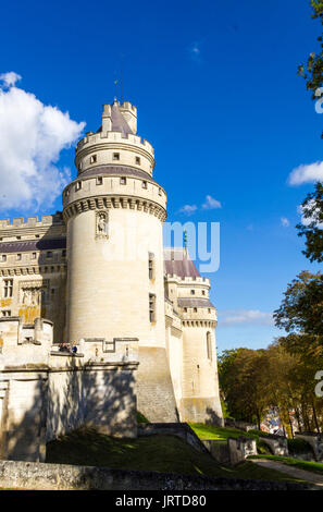 Medieval castle of Pierrefonds, Picardy, France. Exterior with crenelations and turrets - Stock Photo