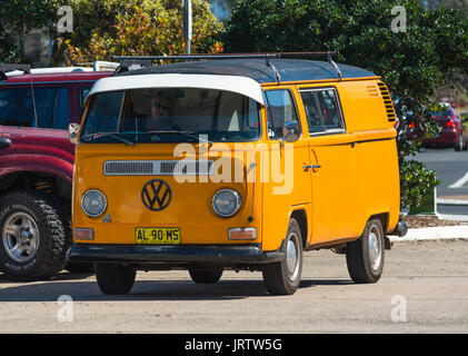 Classic VW mini bus seen at Coffs Harbour Marina, New South Wales, Australia. - Stock Photo