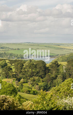 Looking over part of the Salcombe - Kigsbridge estuary valley from Salcombe, south Devon, UK. - Stock Photo