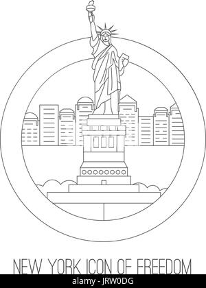 New York attractions. Vector thin lined icon of freedom icon - Stock Photo