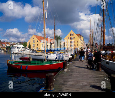 Sailing ships at Svendborg harbour, funen, Denmark, Scandinavia, Europe - Stock Photo