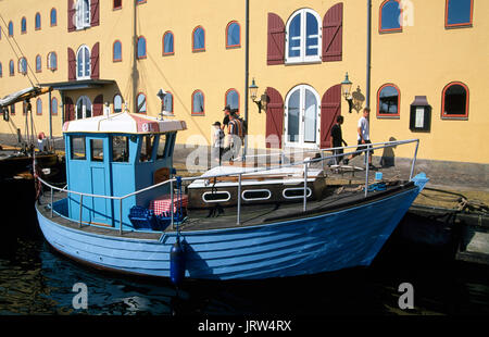 Trawler in Svendborg harbour, Insel Fuenen, Dänemark, Europa - Stock Photo