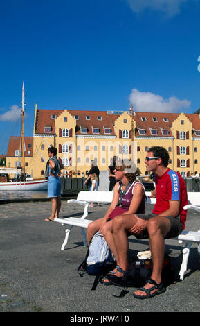 Tourist at Svendborg harbour, fyn, Denmark, Scandinavia, Europe - Stock Photo