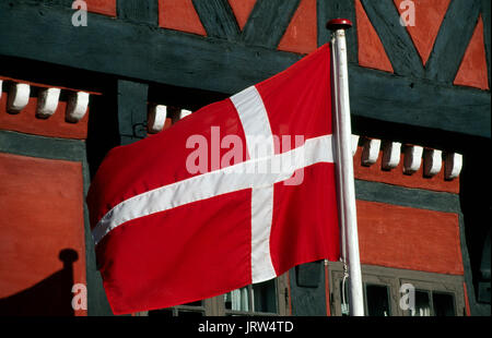 Dannebrog flag in Kerteminde, Fyn, Denmark, Scandinavia, Europe - Stock Photo