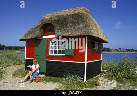 Bathing house at Marstal beach, Aeroe island, Fyn, Denmark, Scandinavia, Europe - Stock Photo