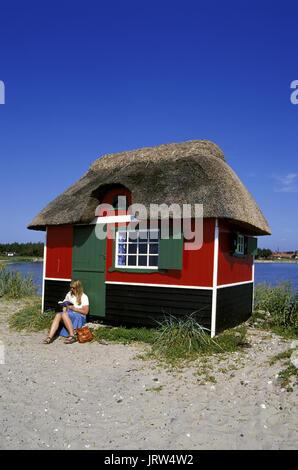 Beach hut at Marstal beach, Aeroe island, Fyn, Denmark, Scandinavia, Europe - Stock Photo