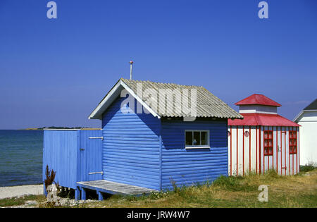 Beach huts at Vester Strand of Aerösköbing, Aeroe island, Fyn, Denmark, Scandinavia, Europe - Stock Photo