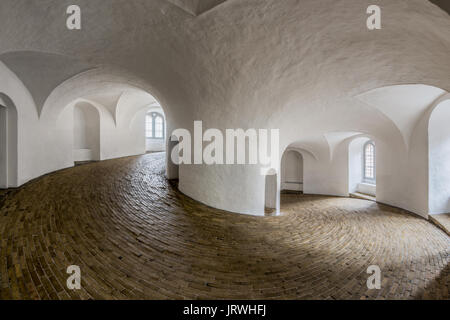 Fisheye view on the Interior of the Round Tower in Copenhagen Denmark - Stock Photo