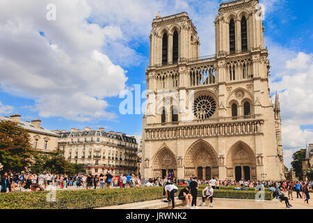 Paris, FRANCE - july 11, 2017: tourists queuing to enter the Notre Dame Cathedral in Paris, France - Stock Photo
