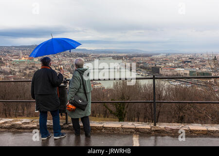 View across the city and the River Danube, from Gellért-hegy, Budapest, Hungary - Stock Photo