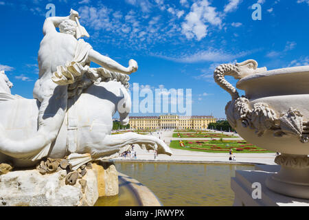 VIENNA, AUSTRIA - JULY 30, 2014: The Schonbrunn palace and gardens from Neptune fountain. - Stock Photo