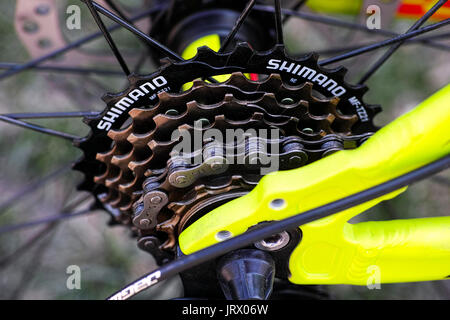 Tambov, Russian Federation - May 07, 2017 Shimano gear cassette on bicycle. Top view. - Stock Photo
