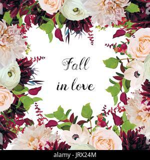 Vector floral design square card design pink Rose, burgundy Dahlia flowers, Anemone red Astilbe, green garden leaves. - Stock Photo