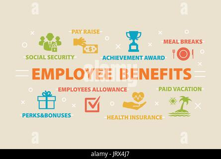 EMPLOYEE BENEFITS Concept with icons - Stock Photo