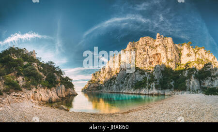 France, Cassis. Panorama Of Beautiful Nature Of Calanques On The Azure Coast Of France At Morning Sunrise Time. - Stock Photo