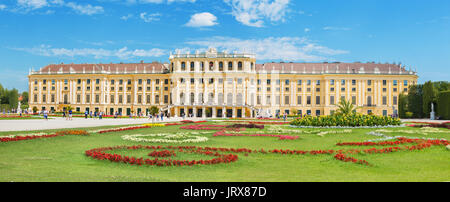 VIENNA, AUSTRIA - JULY 30, 2014: The Schonbrunn palace and gardens. - Stock Photo