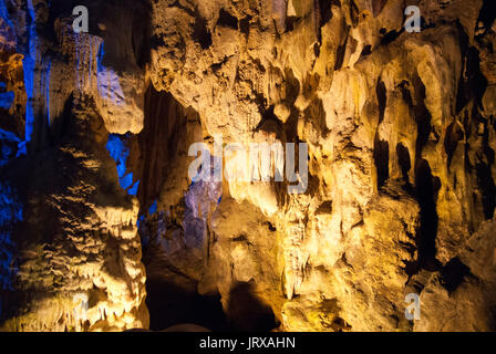Hang Sung Sot, Cave of Surprises, stalactite cave in Halong Bay, Vietnam, Southeast Asia. Hang Sung Sot or Surprise - Stock Photo
