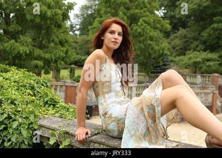 Beautiful German Model in Cannizaro Park 2017 ... - Stock Photo
