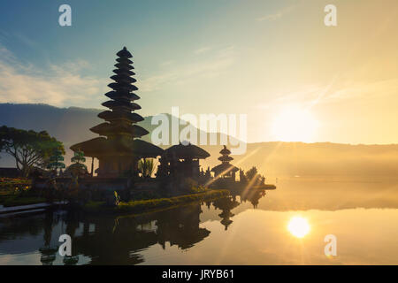 Pura Ulun Danu Bratan, or Pura Beratan Temple, Bali island, Indonesia. Pura Ulun Danu Bratan is a major Shivaite - Stock Photo