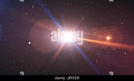 3D illustration of the Big Bang explosion with plazma looking rays beaming in different sides, with billions of - Stock Photo