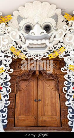 Gardian statue at entrance Bali temple / Bali Hindu temple / Bali, Indonesia - Stock Photo