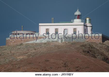 Punta de Arinaga Lighthouse. Montaña de Arinaga Natural Monument. Agüimes. Gran Canaria. Canary Islands. Spain. - Stock Photo
