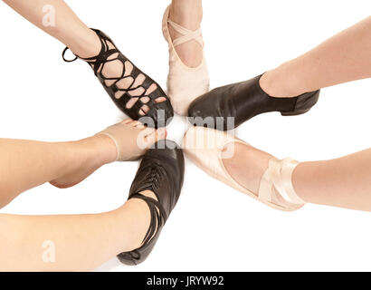 Six Styles of Dance Shoes on Female Feet and Legs - Stock Photo