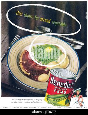 1948 British advertisement for Benedict Processed Peas. - Stock Photo