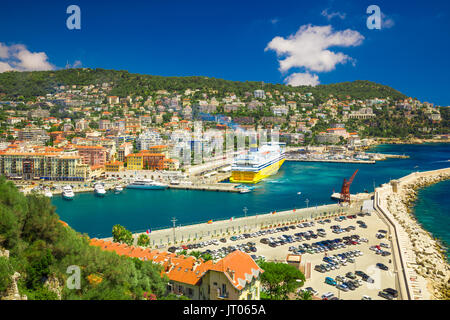 Corsica ferry in the harbor of Nice, French riviera, France, Europe. - Stock Photo