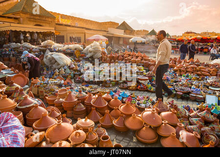 Pottery, tajines dishes, Imperial city Meknes, Morocco, Maghreb North Africa - Stock Photo